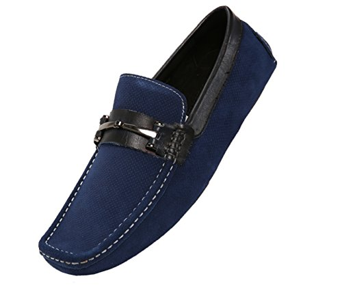 Asher Green Men's Suede Slip On Casual Loafer, Comfortable Driver Shoe With Leather Trim, Style (Navy Suede Driver Shoes)