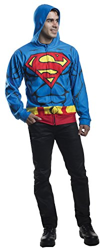 Adult Batman Hoodie Costumes (Rubie's Costume Co Men's Superman Hoodie, Multi, Medium/Large)