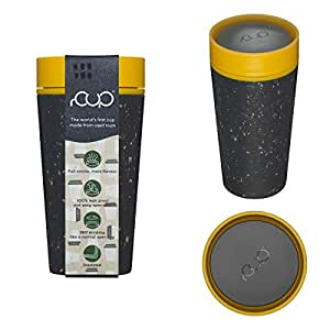 12oz 340ml rCup Reusable Coffee Cup Made from Recycled Cups, 100% Leak Proof, Black & Mustard