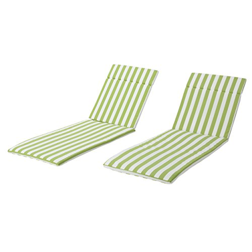Christopher Knight Home 618 Salem Outdoor Green and White Stripe Water Resistant Chaise Lounge Cushions (Set of 2),
