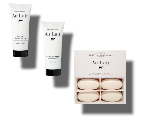 Au Lait Cream Body Wash 7 Oz. + Body Butter 7 Oz. + Milk Soap 4 X 100 Gm 3.5 Oz. Bundle - Blossom 4 Bar