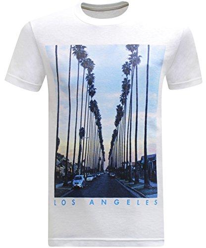 (California Republic Los Angeles Twilight Sky Men's T-Shirt - (Small) - White)