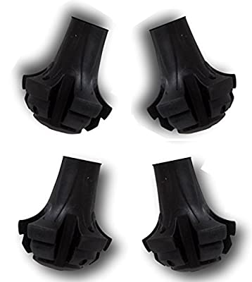Extra durable replacement tips for trekking poles - 4 pack - Replacement paws, feet, and caps for most hiking poles. Replacement tips made from high quality vulcanized rubber