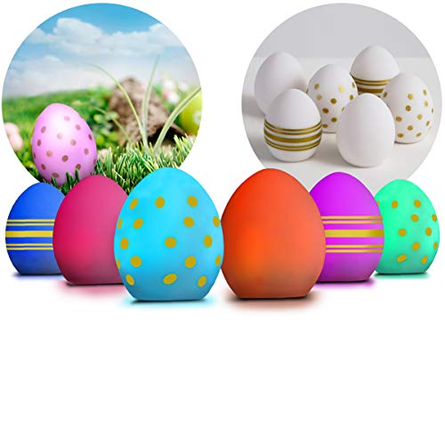 FAO SCHWARZ Half Dozen LED Light Up Golden Eggs for Easter Bunny and Spring Party Decorations, Egg Decorating Hunts, Glow in the Dark