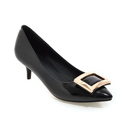 AmoonyFashion Womens PU Kitten-Heels Pointed Closed Toe Solid Pull-on Pumps-Shoes Black SQCHzzJz
