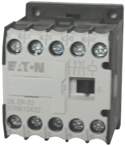 [Eaton / Moeller DILER-22 4 pole miniature control relay with a 110/120 volt AC coil. Comes with 2 N.O. and 2 N.C. base contacts, rated for 10 AMPS and mounts on standard 35mm DIN rail] (Eaton Relay)