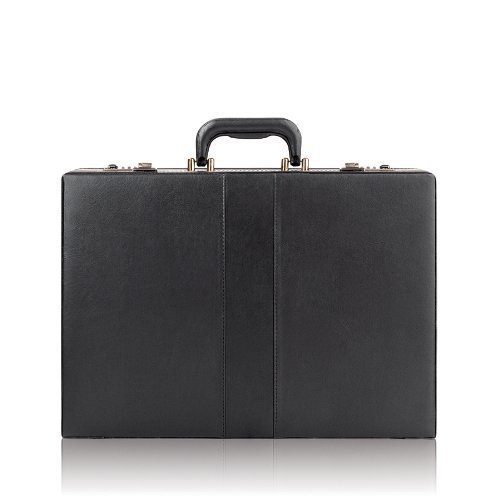 SOLO Classic Collection Expandable Attache, Hard-Sided with Combination Locks, Black (K85-4), Bags Central