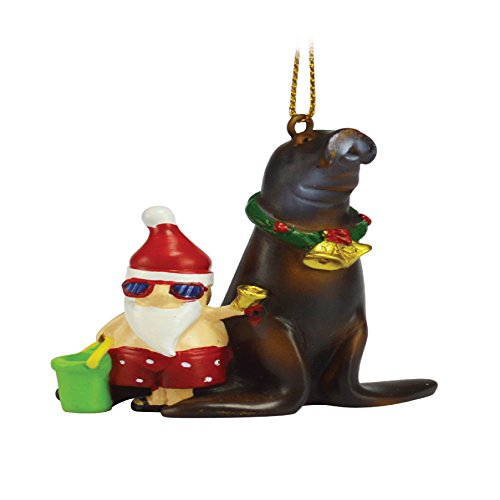 Rockin Gear Christmas Ornament Santa Claus on Sea Lion Funny Ornament
