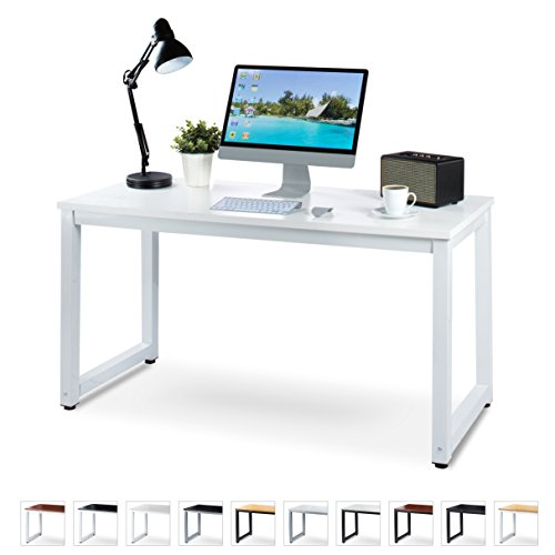 "Office Computer Desk – 55"" x 23"" White Laminated Wooden Particleboard Table and White Powder Coated Steel Frame - Work or Home – Easy Assembly - Tools and Instructions Included – by Luxxetta"