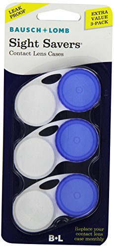 Bausch & Lomb Sight Savers Contact Lens Cases, Colors May Vary 3 Each (Pack of 3)