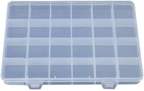 Dandeliondeme - Caja de plástico con 24 Compartimentos para joyería, Pendientes, Anillos, Perlas, contenedor, Organizador de Manualidades: Amazon.es: Hogar