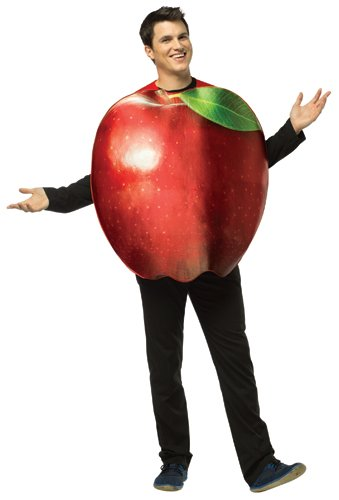 Adult Get Real Apple Costumes (Rasta Imposta Get Real Apple, Red, Standard)