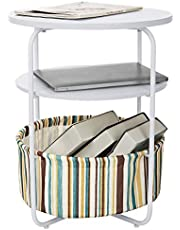 Rackaphile 3-Layer Round Side Table with Storage Basket, Modern End Table, Espresso Bedside Table Nightstand with Fabric Bag for Living Room, Bedroom, White