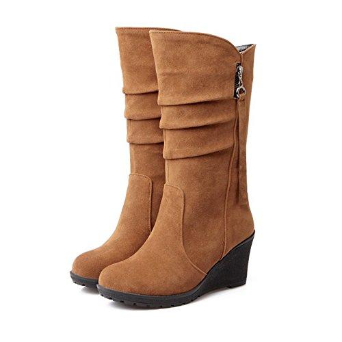 Wedges gefüttert tragbare Winter und Schuhe Fleece Damen Herbst Schneeschuhe halten braun Outdoor Eastlion Warm PxfazzW
