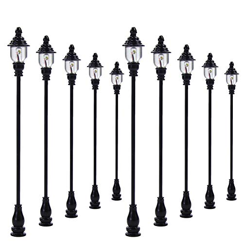 Evemodel LQS21 10PCS Model Railroad Train Lamp Posts Led Street Light Lamps OO / HO Scale