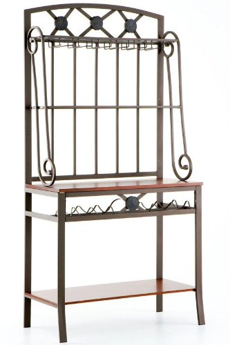 Southern Enterprises Bakers Rack with 4 Wine  Bottle Storage, Coffee Brown and Mahogany Finish