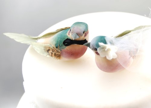 Charming Love Bird Cake Topper: ''Bride and Groom'' Wedding Cake Topper in Teal Green and Orchid Purple by Becky Kazana (Image #3)
