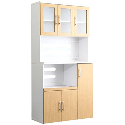 大容量!オシャレな食器棚 ホワイト×ナチュラル(幅90cmx奥行41cmx高さ180cm)ガラス扉2口コンセントスライドトレーエコファ加工 B01MR6JN39  ナチュラル
