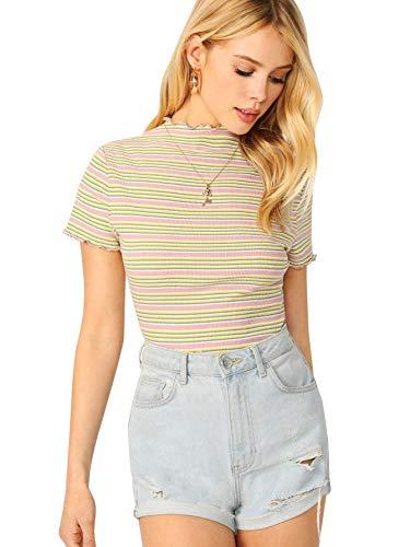Milumia Women Rib-Knit Form Fitting Striped Short Sleeve Tee T-shirt Top Multicolor-7 M ()