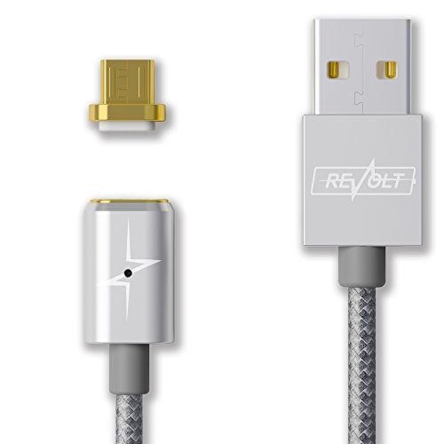 Magnetic Charger USB Cable for Android/2.4A Fast Charge/4FT Length/Reversible/Universal Compatibility (Micro-USB Adapter Only) by Revolt Electronics
