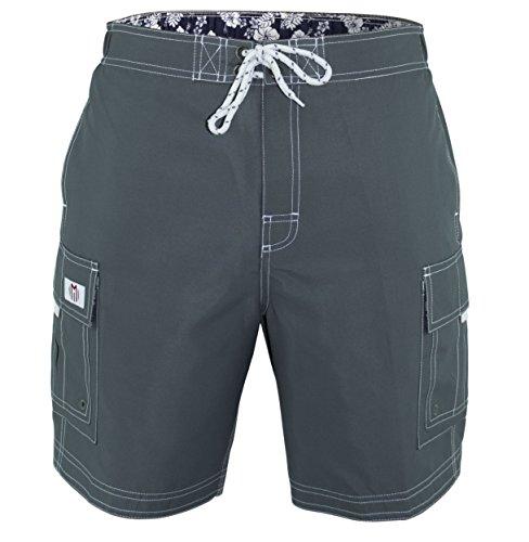 - Matereek Men's Solid Color Cargo Trunks Style Microfiber Swim Trunks Grey Small