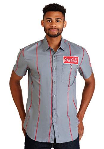 (Coca-Cola Men's Button Up Short Sleeve Shirt - M)