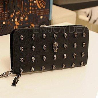 FOME Wallet Women Punk Style PU Long High-end Cross Pattern Wallet Purse Zipper Bag Handbag Skull (Skull Purse)
