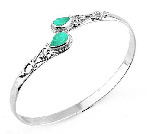 11.70gms,3.20ctw Genuine Turquoise .925 Silver Overlay Handmade Fashion Cuff Bangle Jewelry