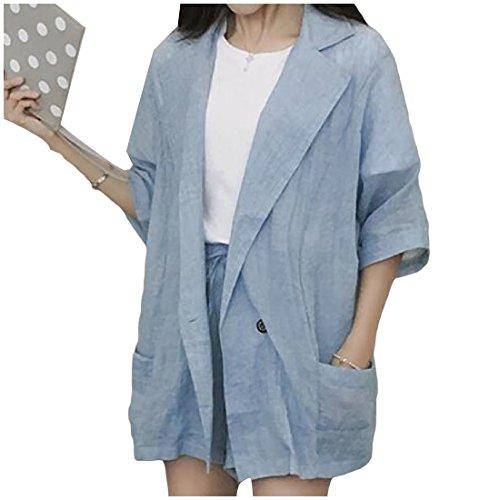 暖炉アイデア呼吸するNicellyer 女性の広いノッチラペルピュアカラーブレザージャケットとパンツスーツセット