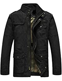 Men's Field Jacket Cotton Stand Collar Lightweight Military Coat
