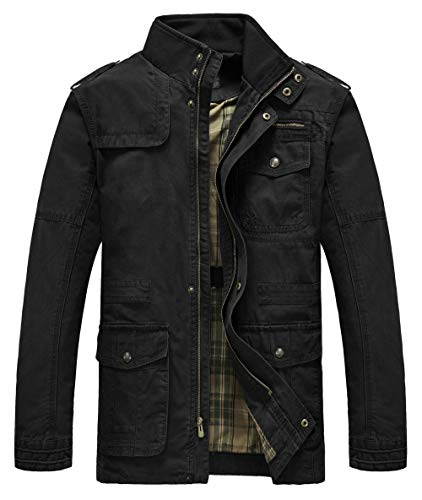 Heihuohua Men's Field Jacket Cotton Stand Collar Lightweight Military Coat Black