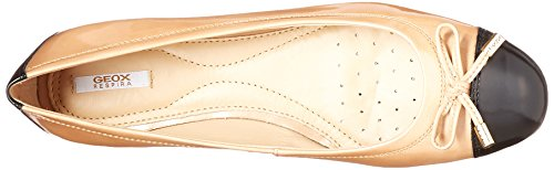 Geox Kvinners Wlola105 Ballet Flat Kamel / Svart