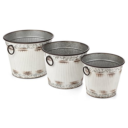 Galvanized Metal, Rustic Buckets - Set of 3, Antiqued White
