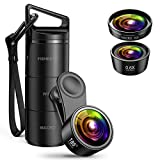 AMIR (Upgraded Version) Phone Camera Lens, 3 in 1 Camera Lens Kit 180° Fisheye Lens + 15X Macro Lens + 0.36X Wide Angle Lens, Clip-On 3 IN 1 Professional HD Cell Phone Lens for iPhone 7 / 7 PLUS / 6, Samsung, Other Smartphones