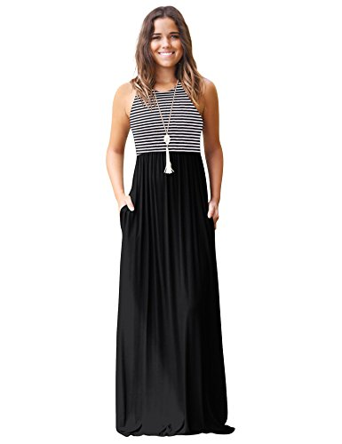 WISREMT Womens Casual Sleeveless Striped Patchwork Pleated Long Maxi Dress with Pockets