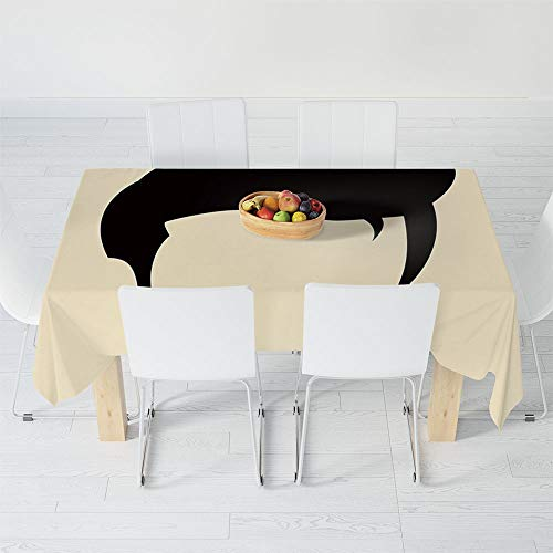 Waterproof Tablecloth,Elvis Presley Decor,for Dining-Table Tea Table Desk Secretaire,40.2 X 30.3 Inch,Simple Graphic of Rockn Roll Kings Hairstyle