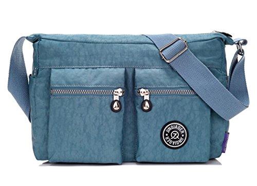 Women's Fashion Cross-body Bag,Lightweight Water-resistant Nylon Travel Purse Casual Shoulder Handbag for Girls (Light Blue) -