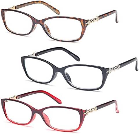 GAMMA RAY READERS Multiple Pairs of Metallic Accent Readers Quality Spring Non-Hinge Reading Glasses