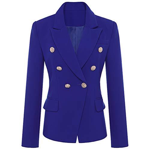 (Runway Blazer Jacket Women's Metal Lion Buttons Double Breasted Blazer Outer Coat S-XXXL Blue L)