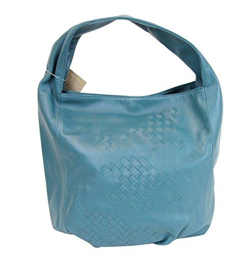 Bottega Veneta Blue Woven Detail Leather Hobo Bag Tote Bag 176976 4403