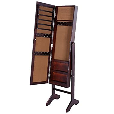 SONGMICS Mirrored Jewelry Cabinet with Stand Armoire Storage Organizer Real Glass, Brown