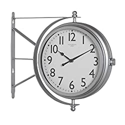 Studio Designs Home Metro Station 18 Dual Face Clock and Thermometer in Silver, 15.75 W x 14.25 H x 3.25 D,