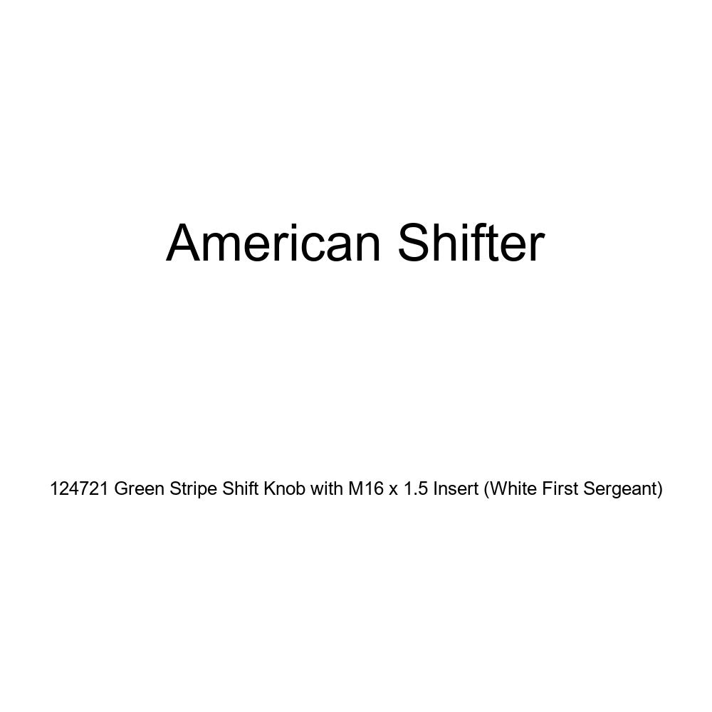 American Shifter 124721 Green Stripe Shift Knob with M16 x 1.5 Insert White First Sergeant