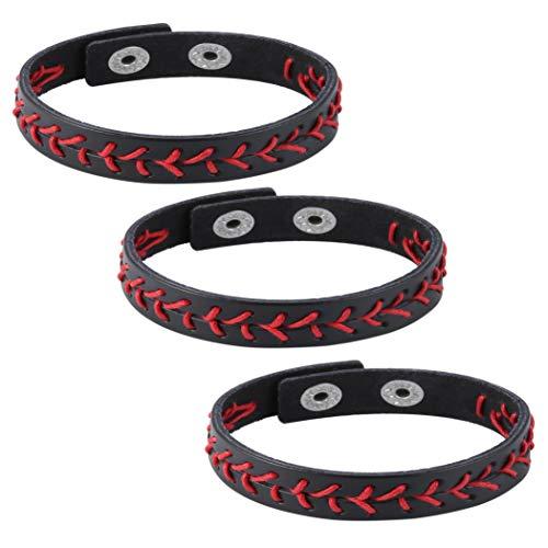 HZMAN Leather Softball Baseball Bracelets by Athletes Bangle Cuff Wristband, 3 Pcs White Black Yellow Ste ()