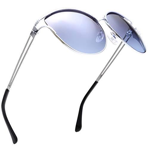 Classic Crystal Elegant Women Beauty Design Sunglasses Gift Box (L134-Silver, Grey/Blue)