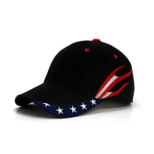 American Flag USA US Stream Patriotic Stars Flames Baseball Cap Hat (Black) ()
