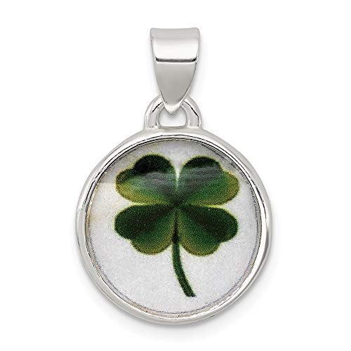 925 Sterling Silver 4 Leaf Clover Clear Enamel Pendant Charm Necklace Good Luck Italian Horn Fine Jewelry Gifts For Women For Her