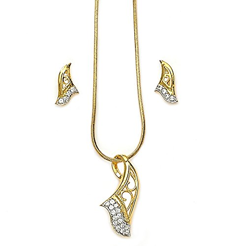 Xcite Gold Plated Pendant Set With Matching Earrings for Women- XPE114