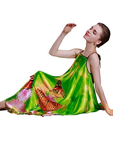 Notte Rayon Camicia Liscia Pigiama Verde da Donna MOKAYA Estate Serie xfIqZpw