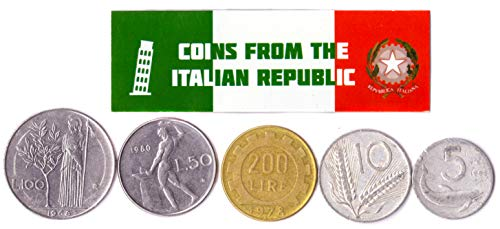 Hobby of Kings Different Coins - Old, Collectible Italian Foreign Currency for Collecting Book - Unique, Commemorative World Money Sets - Gifts for Collectors - Collection of 5 (Old Italian Coins)